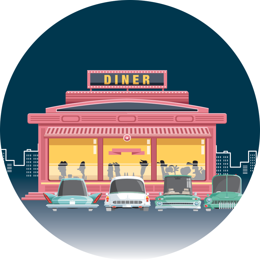 Image depicting cartoon diner with people eating inside